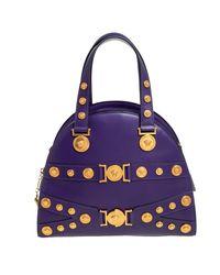 Versace Purple Leather Tribute Medallion Satchel
