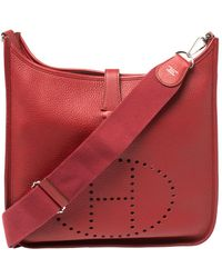 Hermès Rouge Vif Clemence Leather Evelyne Iii Gm Bag - Red
