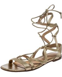 Gianvito Rossi Metallic Gold Leather Gladiator Ankle Length Flat Sandals