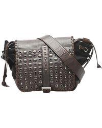 Prada Brown Leather/nylon Grommet Tessuto Crossbody Bag - Black