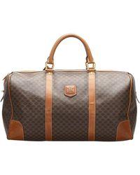 Celine Brown/beige Macadam Coated Canvas Macadam Travel Bag - Natural