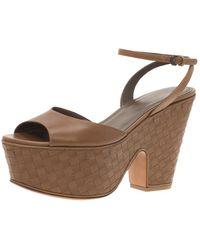 Bottega Veneta Brown Leather Intrecciato Platform Sandals