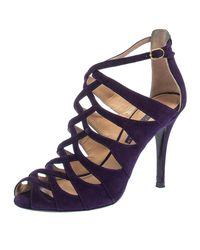 Ralph Lauren Collection Purple Suede Caged Ankle Strap Sandals