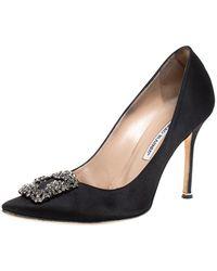 Manolo Blahnik Black Satin Hangisi Pointed Toe Pumps Size 39.5