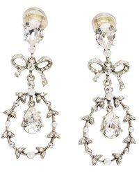 Oscar de la Renta Bow Drop Crystal Silver Tone Clip-on Drop Earrings - Metallic