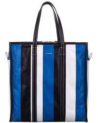Balenciaga Blue/white/black Leather Bazar Shopper