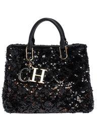 Carolina Herrera Black Sequins And Leather Charm Tote