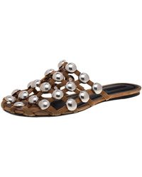 Alexander Wang Beige Suede Embellished Flat Sandals - Natural