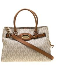 a5d6e58ac7ad MICHAEL Michael Kors - Cream brown Coated Canvas And Leather East West  Hamilton Tote -