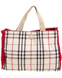 Burberry Red/beige Haymarket Check Canvas Tote - Natural