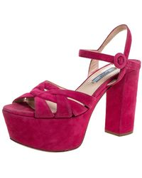 Prada Pink Suede Block Heel Platform Sandals
