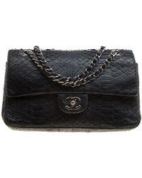 Chanel - Classic Python Medium Double Flap Bag - Lyst