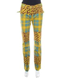Dior Multicolor Printed Embellished Belt Jeans - Yellow