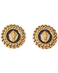 Moschino Lion Motif Black Enamel Gold Tone Round Stud Earrings - Metallic