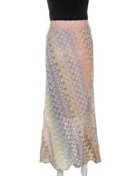 Missoni Pastel Multicolor Crochet Knit Midi Skirt