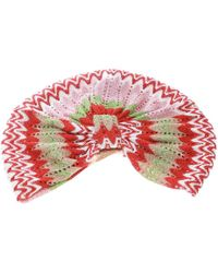 Missoni Mare Multicolour Perforated Patterned Lurex Knit Turban - Red