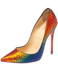 Christian Louboutin Metallic Multicolour Python Pigalle Pointed Toe Court Shoes