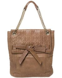 Carolina Herrera Light Brown Embossed Leather Bow Flap Hobo