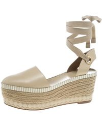 668d953aa5af Tory Burch - Leather Dandy Ankle Wrap Espadrille Wedge Sandals - Lyst