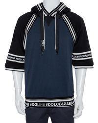 Dolce & Gabbana Navy Blue & Black Cotton Logo Band Detail Hoodie