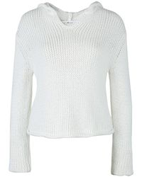 Alexander Wang T White Knit Cropped Hoodie