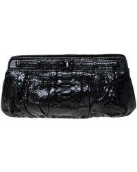 Zagliani Black Python Leather Clutch