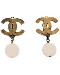 Chanel - Cc Faux Pearl Textured Gold Tone Drop Earrings - Lyst