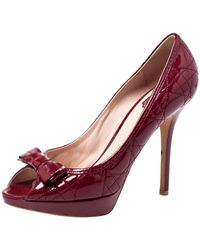 Dior Red Patent Leather Cannage Quilt Peep Toe Court Shoes