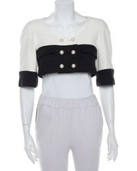 Chanel Monochrome Tweed Double Breasted Cropped Jacket - Multicolor