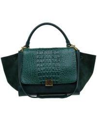 Céline - Emerald Croc Stamped Leather Medium Trapeze Bag - Lyst