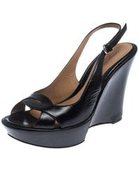 Sergio Rossi Black Patent Leather Wedge Platform Ankle Strap Sandals Size 38