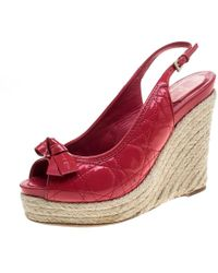 Dior - Coral Patent Cannage Leather Espadrille Wedge Peep Toe Slingback Sandals - Lyst