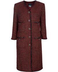 Chanel Red Knee Length Tweed Jacket Xxl