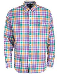 Tommy Hilfiger Multicolour Checked Cotton Long Sleeve Vintage Fit Shirt - Blue