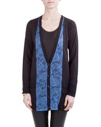 Vera Wang Collection Black And Blue Lace Trim Button Front Cardigan