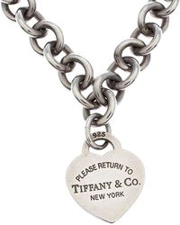 Tiffany & Co. Return To Tiffany Heart Tag Silver Chain Link Necklace - Metallic