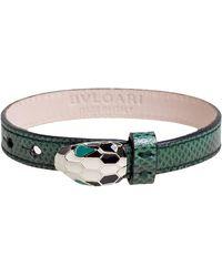 BVLGARI Green Karung Leather Serpenti Bracelet