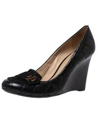 Tory Burch Black Suede And Quilted Leather Leila Wedge Loafer Court Shoes