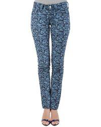 Isabel Marant Etoile Indigo Eyelet Embroidered Distressed Denim Skinny Jeans S - Blue