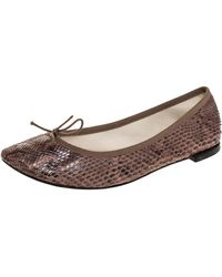 Repetto Brown Python Leather Bow Ballet Flats