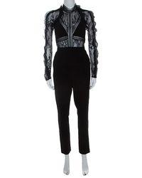 Self-Portrait Black Lace Panelled Hall Jumpsuit