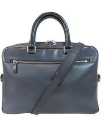 Louis Vuitton Black Epi Leather Porte Documents Bag - Blue