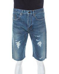 Saint Laurent Distressed Denim Capri Shorts - Blue