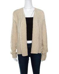 Zadig & Voltaire Cream Textured Wool Open Front Daphnee Cardigan - Natural