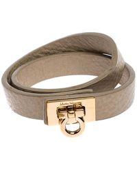 Ferragamo Gancini Beige Leather Gold Tone Double Wrap Bracelet - Natural