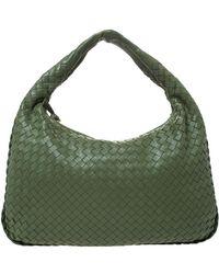 Bottega Veneta Green Leather Veneta Hobo