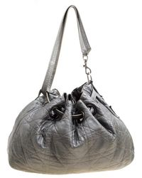 Dior Grey Cannage Quilted Leather Drawstring Bag