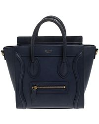 Céline Navy Blue Leather Nano Luggage Tote
