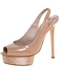 Le Silla Beige Patent Slingback Peep Toe Platform Sandals - Natural