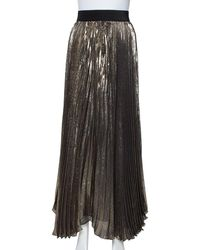 Alice + Olivia Gold & Black Silk Pleated Katz Maxi Skirt - Metallic